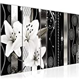 Bilder Blumen Lilien Wandbild 150 x 60 cm Vlies - Leinwand Bild XXL Format Wandbilder Wohnzimmer Wohnung Deko Kunstdrucke Weiß 5 Teilig - MADE IN GERMANY - Fertig zum Aufhängen 008456c