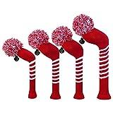 Scott Edward Crimson rojo rayas fundas para cabezas de palos de golf, hilo acrílico double-layers de punto, juego de 4