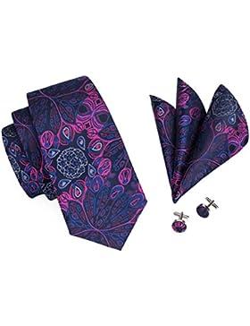 Juego de corbata y pañuelo de seda tejida con motivos florales para hombre, de Hi-Tie