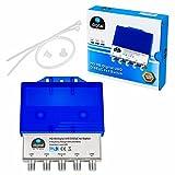 1x HQ DiseqC Schalter Switch 4/1 mit Wetterschutzgehäuse HB-DIGITAL 4x SAT LNB 1 x Teilnehmer / Receiver für Full HDTV 3D 4K UHD