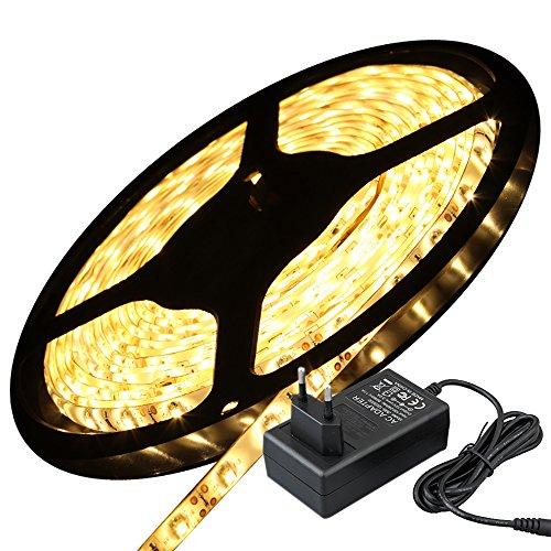 5M Flexible LED Streifen Warmweiss 3528 300 LEDs Wasserdicht IP65 mit Netzteil Adapter 12V 2A Kyodoled