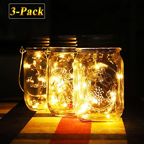 Solar Mason Jar Light con coperchio a vaso impermeabile, stringa LED e batteria incorporata, luci decorazione esterna per Gardon Patio Tree Wedding Party, bianco caldo / cambio colore (Warm White-3 Pack)