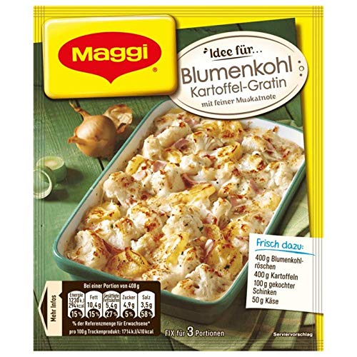Maggi Fix Blumenkohl Kartoffel Gratin, 27er Pack (27 x 51 g Beutel)