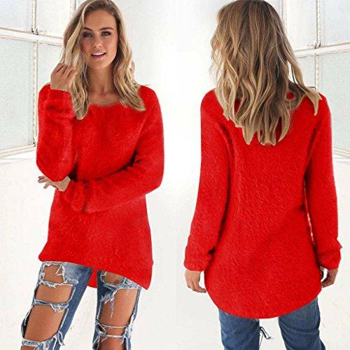 Minetom Damen Mode Herbst Winter Sweatshirt Lange Ärmel Shirts Rundhals Tops Solide Farbe Pullover Jumper Rot