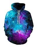 sankill Hoodie Herren Kapuzenpullover Galaxy Bunte HD 3D Bedruckte Pullover Unisex Harajuku Langarm Sweatshirt Kapuzenjacke