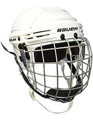 Bauer 2100 1036882 - Casco de hockey con rejilla de protección facial para niño, talla M, color blanco