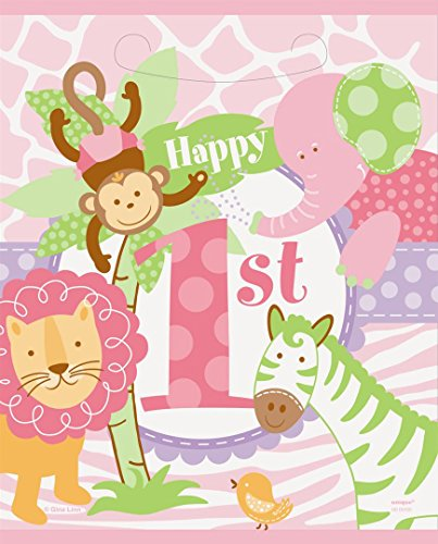 Unique Party Supplies Rosa Safari 1st Birthday Partytüten, 8 Stück (First Birthday Party Favor Ideen)