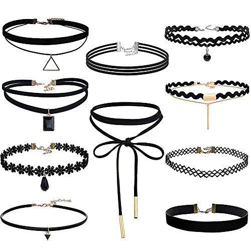 EROSPA® Damen Hals-Ketten 10-teilig Choker-Halsband Gothik Punk Tattoo – schwarz