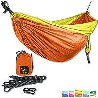 Sommer Aktion - Ultraleichte Doppel Camping Hängematte Set mit 2 Karabinern + 2 Seilen/300 x 200 cm/270kg Belastbarkeit/Fallschirm Nylon 210T/Ideales Geschenk für Camping Balkon Garten Reise.
