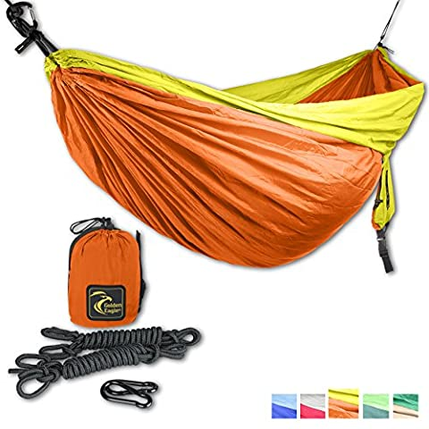 GOLDEN EAGLE DoubleEagle (2 person) Camping Hammock Set - Lightweight Parachute Portable Hammocks for Hiking, Travel, Backpacking, Beach, Yard. Escape, Relax, Dream. SWISS DESIGN.