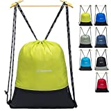 ZOMAKE Cordón Mochila Bolsa Sackpack Impermeable Deporte Gimnasio Saco Bolsas de Cuerdas Gymsack Backpack para Hombre y Mujer(Verde Claro)