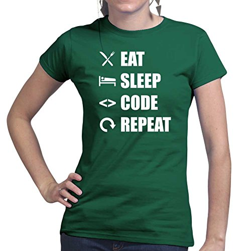 Womens Eat Sleep Code Repeat Coding Programming Ladies T Shirt (Tee, Top) Forest Green
