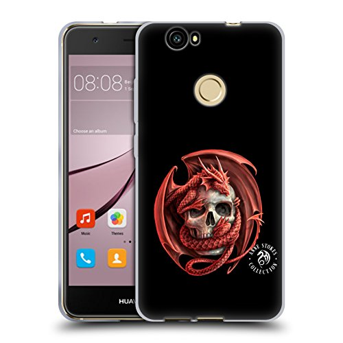 Official Anne Stokes Dragon and Skull Fire Tribal Soft Gel Case for Huawei Nova