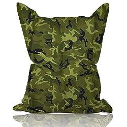 Lumaland Luxury superweicher XXL Sitzsack aus Baumwolle 380l Füllung 140 x 180 cm Indoor Camouflage