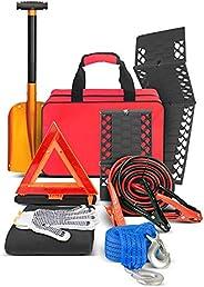 مجموعة ادوات الطوارئ رود سايد - مجموعة طوارئ اساسية متعددة الاستخدامات للسيارة والطريق، كابل شحن البطارية وحصا