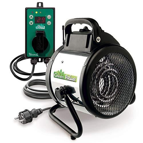 Bio Green Elektrogebläseheizung Palma, 2000 Watt, Digital-Thermostat,  IP X4 Spritzwassergeschützt für Gewächshäuser