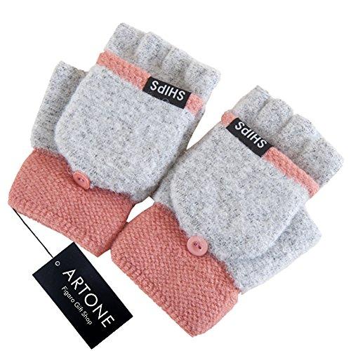 Artone Damen Warm Stricken Halbfinger Thermo Isolierung Radfahren Winter Handschuhe mit Fäustlinge Klappe Grau Pink