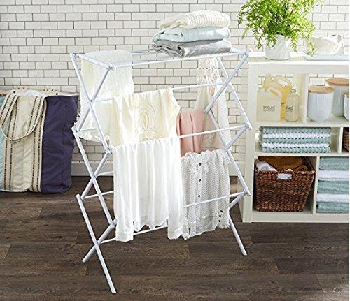 Faltbarer Wäscheständer, 3-Stufiger Faltbarer Einziehbarer Aufhänger, Spart Platz Für Innen- Und Im Freien,White