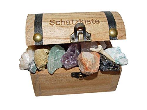 Schatzkiste gefüllt mit 15 ausgesuchten Mineralien Versteinerungen ideal für jeden Schatzsucher ob klein oder groß.(4087
