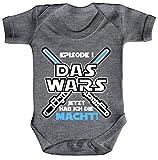 ShirtStreet Strampler mit Motiv Bio Baumwoll Baby Body kurzarm Junge - Das Wars jetzt hab ich die Macht!, Größe: 6-12 Monate,Heather Grey Melange