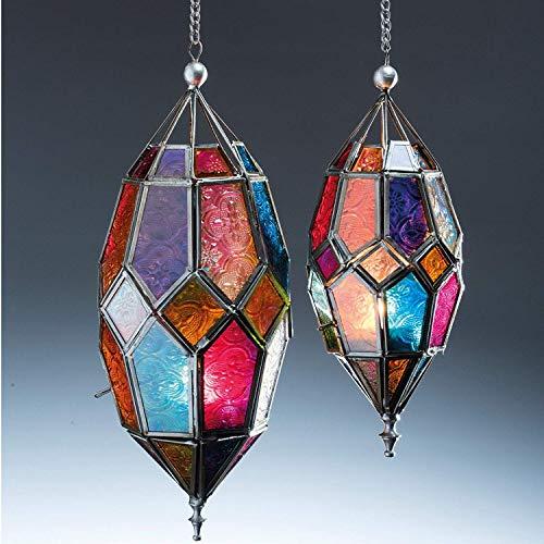 Klass Home Collection® - Pantalla de Cristal para lámpara de Techo (Estilo marroquí, tamaño Grande, Vintage, para decoración de Interiores), Color Plateado