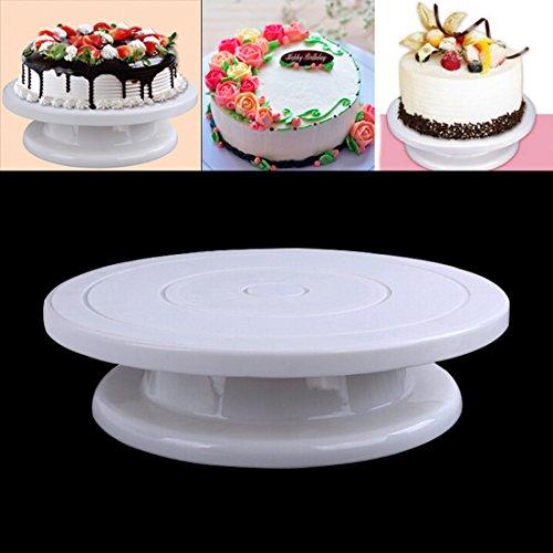 Tortenplatte drehbar Tortenständer Kuchen Drehteller Cake Decorating Turntable von Kurtzy - 28cm Weiß--Ständer von Kurtzy - Drehbarer Multifunktionaler Deco-Ständer für Glasur-Arbeit & Dekorationen - 360 Grad-Drehung