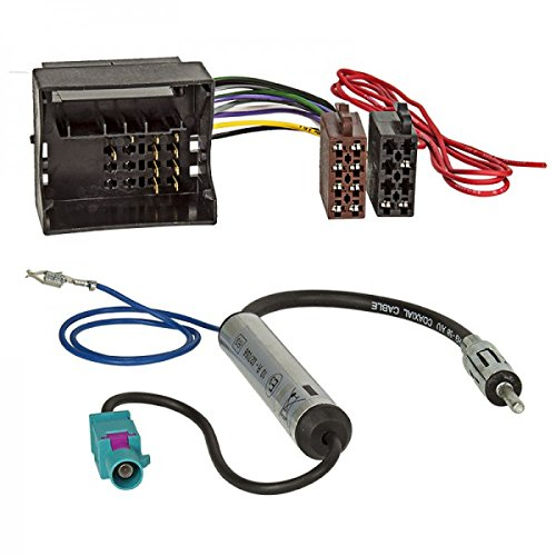 Baseline Connect Radio Cable Adaptador l VW,Skoda Most/Quadlock ISO + Alimentación Fantasma FAKRA DIN