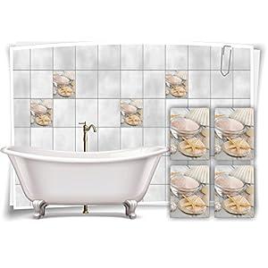 Medianlux Fliesenaufkleber Fliesenbild Seestern Steine Salz Wellness SPA Aufkleber Sticker Deko WC Bad, 20x25cm