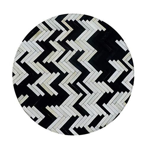 LMXJB Klassisches Schwarz Und Weiß Streifen Kuhfell Bereich Teppich Nordic Geometrische Area Cowskin Teppiche Patchwork Kollektion Mit Teppich Wohnzimmer Tischsets Oder BüRoteppich,Round1.4m/4'6ft