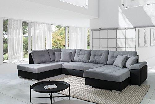 Sofa Couchgarnitur Couch Sofagarnitur SANTORINI in Soft 11 Kunstleder schwarz/ Inari 91grau U Polstergarnitur Polsterecke Wohnlandschaft mit Schlaffunktion...