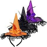 Fascia Per Strega Halloween Fascia da Strega 3 pezzi Nero Arancione Viola Strega Cerchietto Strega per la Decorazione del Costume di Halloween
