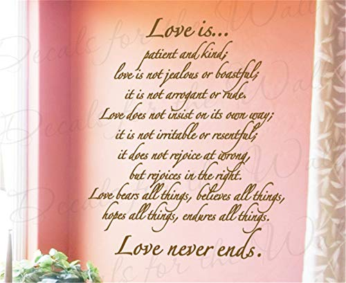 Adesivi da Parete Removibili Stickers Murali Decorazione Murale L\'amore è paziente e gentile L\'amore non è geloso o vanitoso per la camera da letto del salotto