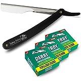 Shaving Factory-Derby E9 - Navaja de afeitar especial para barberos, 300 hojas individuales de recambio y 1 hoja de barbero