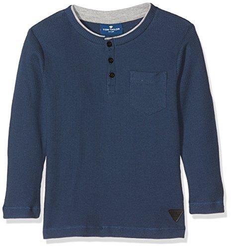 TOM TAILOR Kids Jungen T-Shirt Cosy Waffle Jersey Henley, Blau (Dark Denim Blue 6758), 122 (Jungen Langarm-henley)