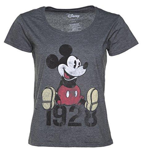 (Disney Micky Maus 1928 lockeres Damen T Shirt Schiefergrau)
