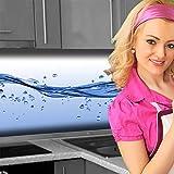 Küchenrückwand < Wasser Welle > Premium Hart-PVC 0,4 mm selbstklebend 120x51cm