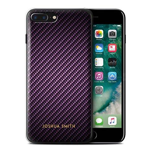 Personalisiert Kohlenstoff-Faser Muster Hülle für Apple iPhone 7 Plus / Blau Stempel Design / Initiale/Name/Text Schutzhülle/Case/Etui Lila Stempel