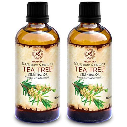 Teebaumöl 200ml - 2x100ml - Melaleuca Alternifolia - Australien - 100% Reine Ätherisches Öl Teebaum - Teebaum Öl Guten für Beauty - Entspannung - Massage - Diffuser - Duftlampe - Raumduft