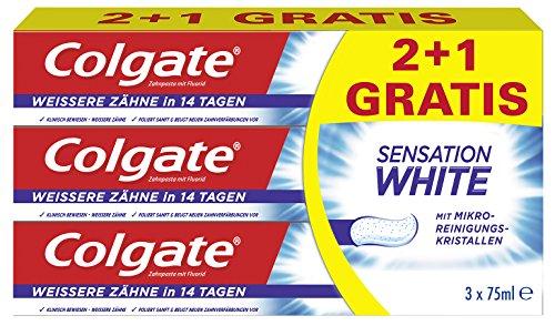 Colgate Sensation White Zahnpasta (2+1 gratis), 75 g (Zahnpasta Colgate Whitening)