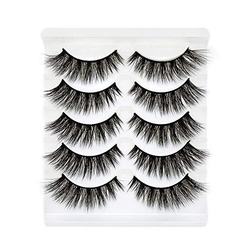 Daluci® False Eyelashes 3D Faux Mink Fake Eyelashes Handmade Dramatic Thick Crossed Cluster False Eyelashes Black Nature Fluffy Long Soft Reusable (5 Pairs)