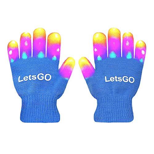 DEDY 5-10 Jahre alt Kinder, Finger Licht blinkt LED-Handschuhe Fun Spielzeug für 3-10 Jahre alte Kinder Weihnachten Spielzeug 2018 für Mädchen Jungen blau MMJSST02 -