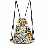 Bolsa con cuerdas Laat para mujer, de material de lona, ideal para gimnasio, deportes, playa, viaje, escuela, etc, hombre mujer Infantil, Hamburgers