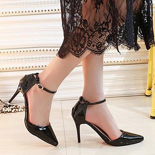 COOLCEPT Femmes Elegant Pointue Mince Talon hauts Sandales Cheville Chaussures Noir