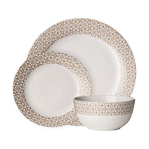 Premier Housewares Avie 12pc Cvasablanca Tafelgeschirr (Mob), Natural, Porcelain Porcelain Side Plate