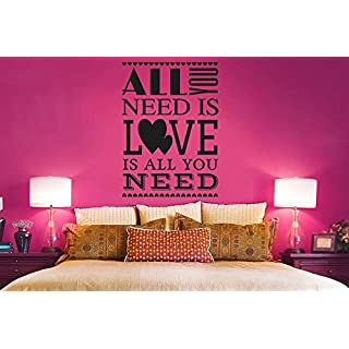 All You Need Is Love Is All You Need Stack Wall Stickers Art Decals - Medium (Height 57cm x Width 41cm) Black