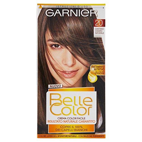 Garnier belle color colorazione permanente, risultato naturale e luminoso, 20 castano chiaro