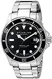 Stuhrling Original Aquadiver Regatta Espora Quartz Watch with Black Dial Analogue Display and Silver Stainless Steel Bracelet