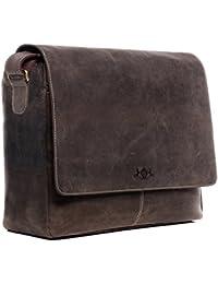 SID & VAIN Laptoptasche Messenger Bag Leder Spencer XL groß Businesstasche Herren 15 Zoll Laptop Umhängetasche Herausnehmbare Schutzhülle echte Ledertasche Herrentasche