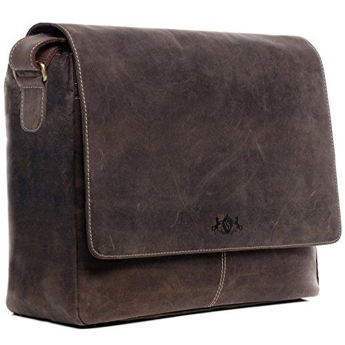 SID & VAIN Laptoptasche Messenger Bag Leder Spencer XL groß Businesstasche Unisex 15 Zoll Laptop Umhängetasche herausnehmbare Schutzhülle echte Ledertasche Damen Herren braun