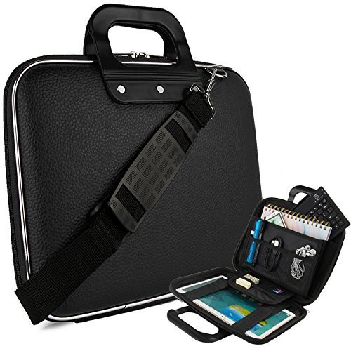 Vegan Leather Ellen Cube Carrying Black Shoulder Bag w/ Handles For Samsung Galaxy 9.7